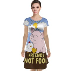 Friends Not Food   Cute Pig And Chicken Cap Sleeve Nightdress by Valentinaart