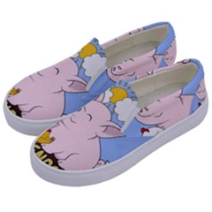 Friends Not Food   Cute Pig And Chicken Kids  Canvas Slip Ons by Valentinaart