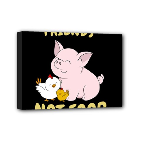 Friends Not Food   Cute Pig And Chicken Mini Canvas 7  X 5  by Valentinaart