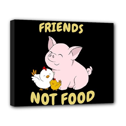 Friends Not Food   Cute Pig And Chicken Deluxe Canvas 20  X 16