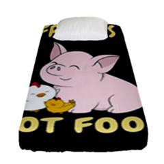Friends Not Food   Cute Pig And Chicken Fitted Sheet (single Size) by Valentinaart