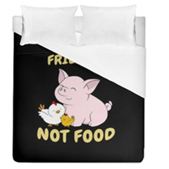 Friends Not Food   Cute Pig And Chicken Duvet Cover (queen Size) by Valentinaart