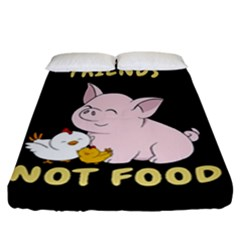 Friends Not Food   Cute Pig And Chicken Fitted Sheet (california King Size) by Valentinaart