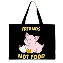 Friends Not Food   Cute Pig And Chicken Zipper Large Tote Bag by Valentinaart