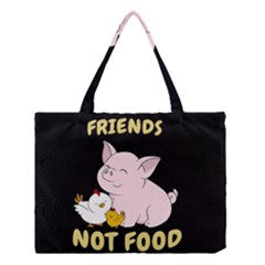 Friends Not Food   Cute Pig And Chicken Medium Tote Bag by Valentinaart