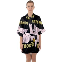 Friends Not Food   Cute Pig And Chicken Quarter Sleeve Kimono Robe by Valentinaart