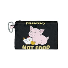 Friends Not Food - Cute Pig And Chicken Canvas Cosmetic Bag (small) by Valentinaart