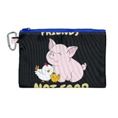 Friends Not Food   Cute Pig And Chicken Canvas Cosmetic Bag (large) by Valentinaart