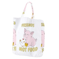 Friends Not Food   Cute Pig And Chicken Giant Grocery Zipper Tote