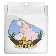 Friends Not Food   Cute Pig And Chicken Duvet Cover (queen Size)