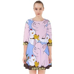 Friends Not Food - Cute Pig And Chicken Smock Dress