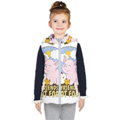Friends Not Food   Cute Pig And Chicken Kid s Puffer Vest by Valentinaart