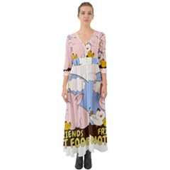 Friends Not Food   Cute Pig And Chicken Button Up Boho Maxi Dress