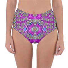 Spring Time In Colors And Decorative Fantasy Bloom Reversible High-waist Bikini Bottoms by pepitasart