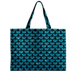 Scales3 Black Marble & Turquoise Glitter Zipper Mini Tote Bag by trendistuff