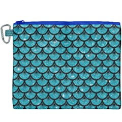 Scales3 Black Marble & Turquoise Glitter Canvas Cosmetic Bag (xxxl) by trendistuff