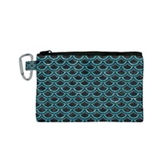 Scales2 Black Marble & Turquoise Glitter (r) Canvas Cosmetic Bag (small) by trendistuff