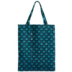 Scales2 Black Marble & Turquoise Glitter Zipper Classic Tote Bag by trendistuff