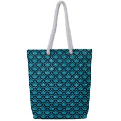 Scales2 Black Marble & Turquoise Glitter Full Print Rope Handle Tote (small) by trendistuff