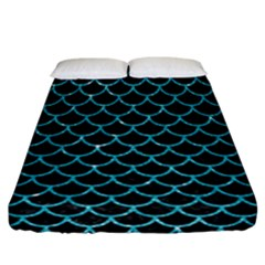 Scales1 Black Marble & Turquoise Glitter (r) Fitted Sheet (california King Size) by trendistuff