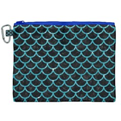 Scales1 Black Marble & Turquoise Glitter (r) Canvas Cosmetic Bag (xxl) by trendistuff