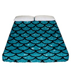 Scales1 Black Marble & Turquoise Glitter Fitted Sheet (queen Size) by trendistuff