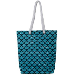 Scales1 Black Marble & Turquoise Glitter Full Print Rope Handle Tote (small) by trendistuff