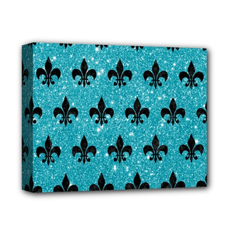 Royal1 Black Marble & Turquoise Glitter (r) Deluxe Canvas 14  X 11  by trendistuff