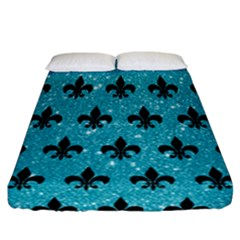 Royal1 Black Marble & Turquoise Glitter (r) Fitted Sheet (california King Size) by trendistuff