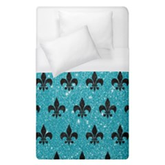 Royal1 Black Marble & Turquoise Glitter (r) Duvet Cover (single Size) by trendistuff