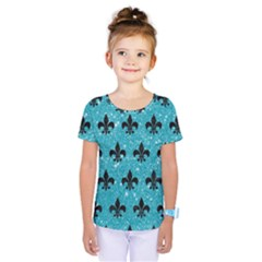 Royal1 Black Marble & Turquoise Glitter (r) Kids  One Piece Tee by trendistuff