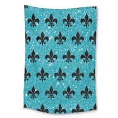 Royal1 Black Marble & Turquoise Glitter (r) Large Tapestry by trendistuff