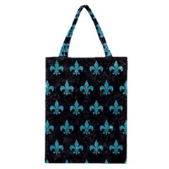 Royal1 Black Marble & Turquoise Glitter Classic Tote Bag by trendistuff