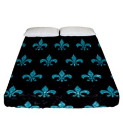 Royal1 Black Marble & Turquoise Glitter Fitted Sheet (california King Size) by trendistuff