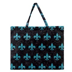 Royal1 Black Marble & Turquoise Glitter Zipper Large Tote Bag by trendistuff