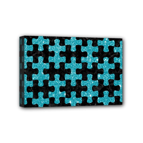Puzzle1 Black Marble & Turquoise Glitter Mini Canvas 6  X 4