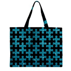 Puzzle1 Black Marble & Turquoise Glitter Zipper Mini Tote Bag by trendistuff