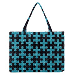 Puzzle1 Black Marble & Turquoise Glitter Zipper Medium Tote Bag by trendistuff