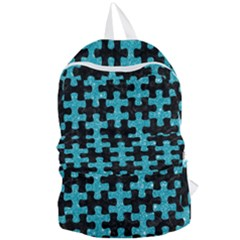 Puzzle1 Black Marble & Turquoise Glitter Foldable Lightweight Backpack by trendistuff
