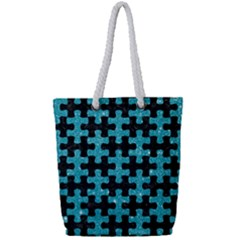 Puzzle1 Black Marble & Turquoise Glitter Full Print Rope Handle Tote (small) by trendistuff