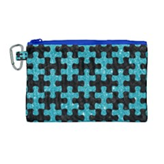 Puzzle1 Black Marble & Turquoise Glitter Canvas Cosmetic Bag (large) by trendistuff