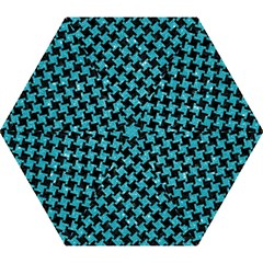 Houndstooth2 Black Marble & Turquoise Glitter Mini Folding Umbrellas by trendistuff