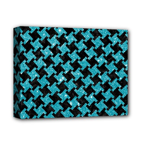 Houndstooth2 Black Marble & Turquoise Glitter Deluxe Canvas 14  X 11  by trendistuff