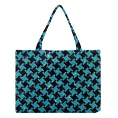 Houndstooth2 Black Marble & Turquoise Glitter Medium Tote Bag by trendistuff