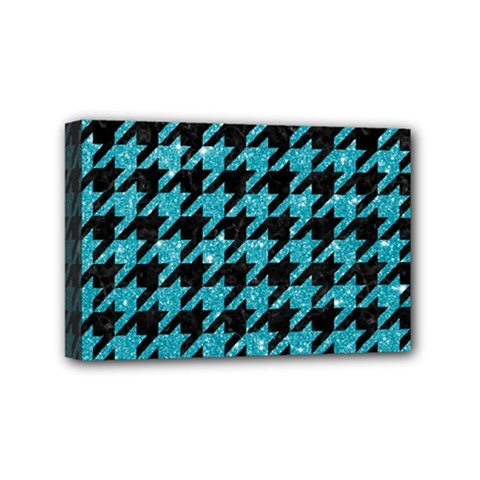 Houndstooth1 Black Marble & Turquoise Glitter Mini Canvas 6  X 4