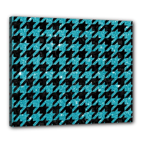 Houndstooth1 Black Marble & Turquoise Glitter Canvas 24  X 20  by trendistuff