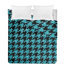Houndstooth1 Black Marble & Turquoise Glitter Duvet Cover Double Side (full/ Double Size) by trendistuff
