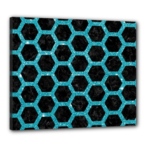 Hexagon2 Black Marble & Turquoise Glitter (r) Canvas 24  X 20  by trendistuff