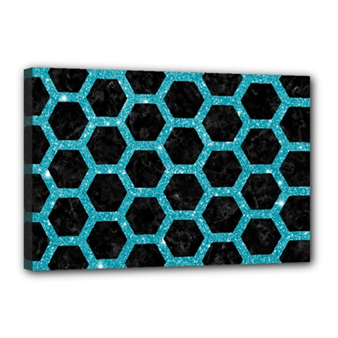 Hexagon2 Black Marble & Turquoise Glitter (r) Canvas 18  X 12  by trendistuff
