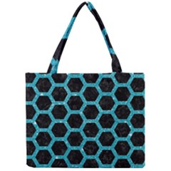 Hexagon2 Black Marble & Turquoise Glitter (r) Mini Tote Bag by trendistuff